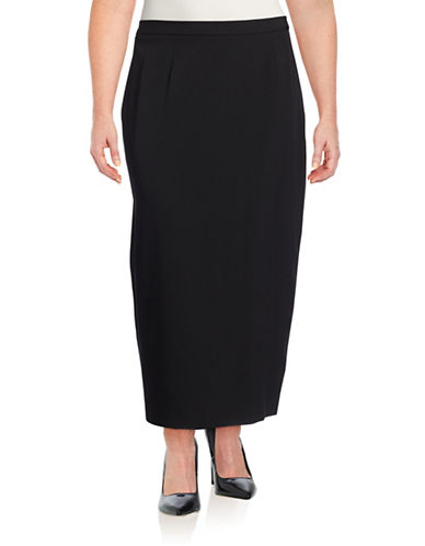 Kasper Suits Plus Stretch Crepe Column Skirt-BLACK-14