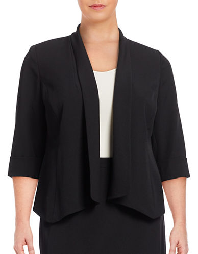 Kasper Suits Plus Lightweight Tuxedo Open Font Jacket-BLACK-14