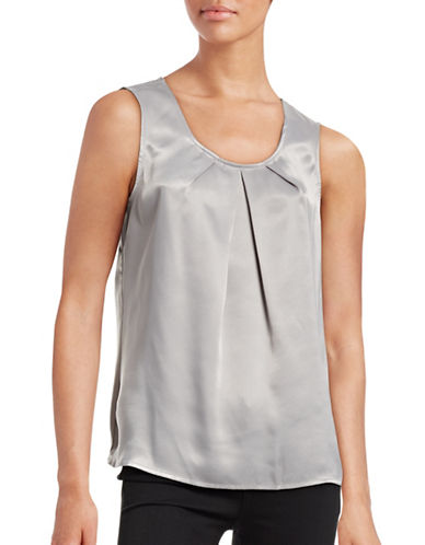 Kasper Suits Pleat-Neck Sateen Blouse-GREY-Medium