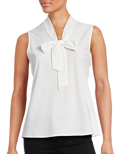 Kasper Suits Tie Neck Sleeveless Top-WHITE-Large