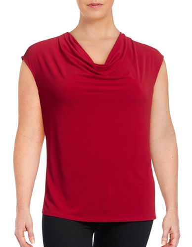 Kasper Suits Plus Matte Jersey Cowl-Neck Top-RED-3X