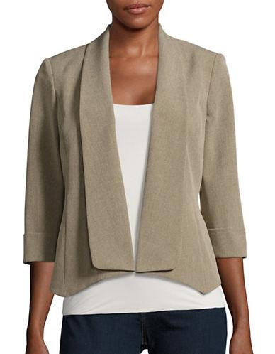 Kasper Suits Point-Hem Shawl Collar Jacket-MINK-10