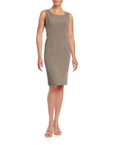 Kasper Suits Sleeveless Sheath Dress-MINK-14