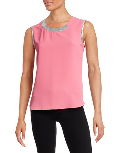Anne Klein Sleeveless Foil Trim Blouse-PINK-12