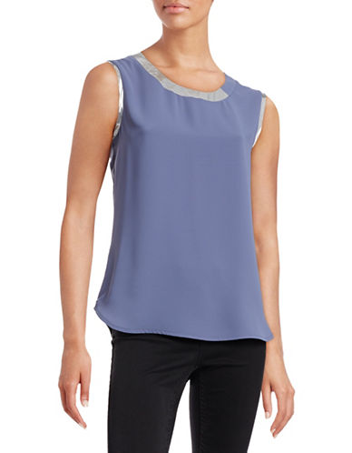 Anne Klein Sleeveless Foil Trim Blouse-BLUE-10