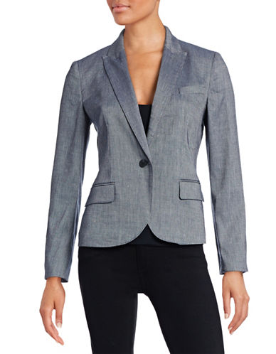 Anne Klein Linen-Blend Twill Jacket-BLUE-10