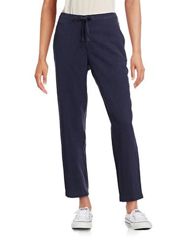 Anne Klein Drawstring Washed Linen-Blend Pants-BLUE-6