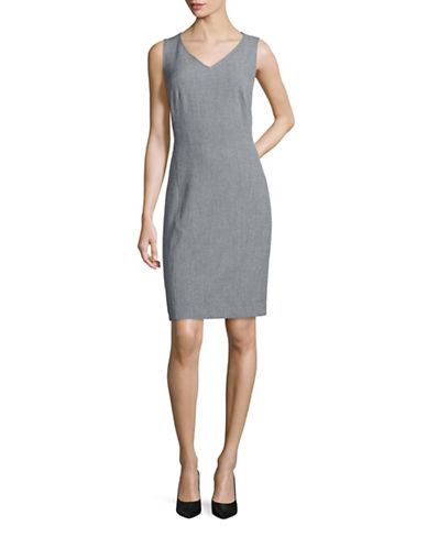 Kasper Suits Seamed Sheath Dress-GREY-6