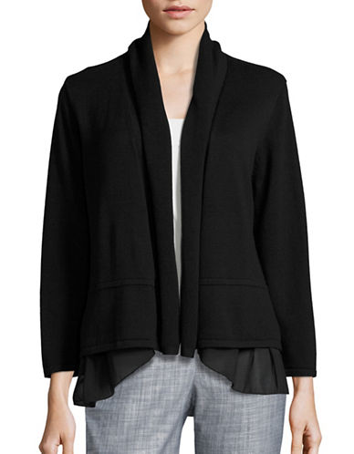 Kasper Suits Flared Woven Hem Cardigan-BLACK-Small 88474703_BLACK_Small