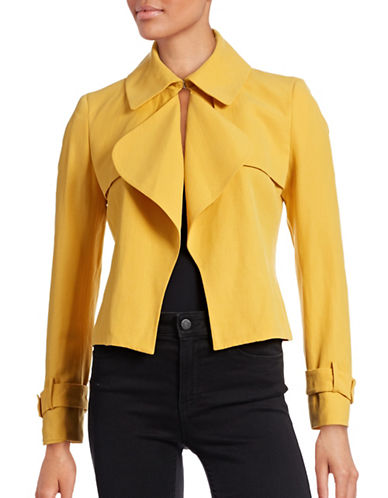 Anne Klein Cropped Linen-Blend Trench Jacket-YELLOW-10