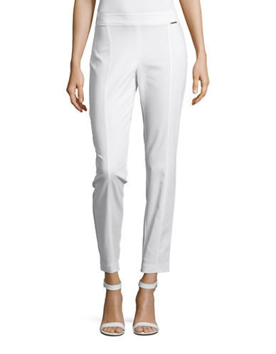 Anne Klein Seamed Straight Leg Pants-WHITE-4