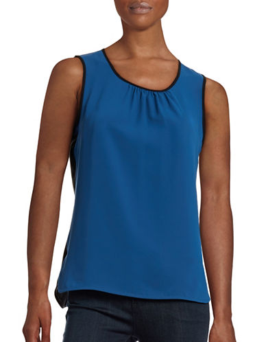 Anne Klein Sleeveless Two-Tone Blouse-MARINER-10