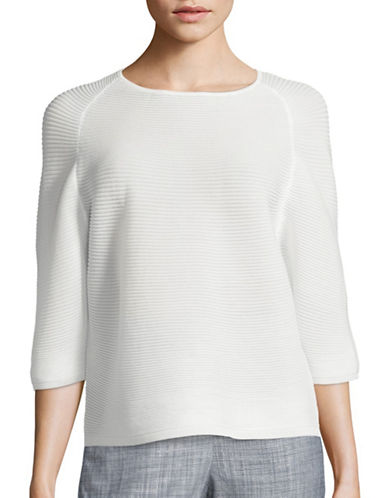 Anne Klein Ribbed Three-Quarter Sleeve Sweater-WHITE-X-Small 88492313_WHITE_X-Small