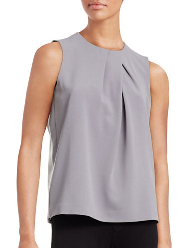 Anne Klein Pleat Neck Shell Top-GREYSTONE-12