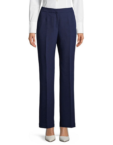 Kasper Suits Fly Front Crepe Trousers-INDIGO-8