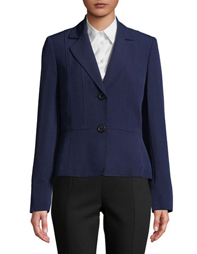 Kasper Suits Two-Button Crepe Jacket-INDIGO-12