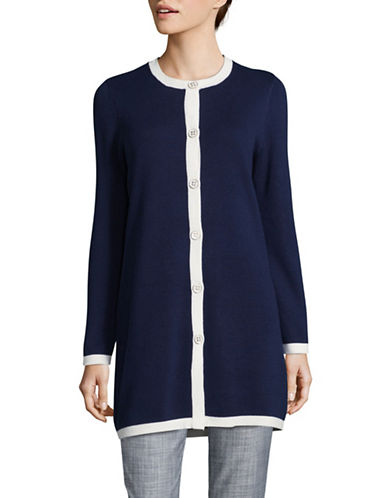 Kasper Suits Contrast Trim Cardigan-INDIGO/IVORY-X-Large