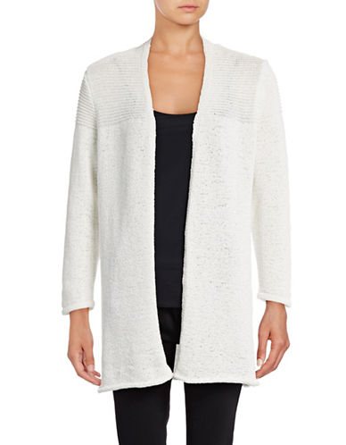 Kasper Suits Tape Yarn Cardigan-IVORY-Large