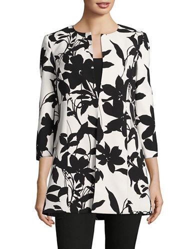 Kasper Suits Printed Floral Flyaway Jacket-BLACK-12