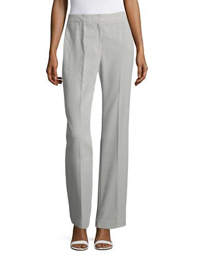 Kasper Suits Striped Seersucker Pants-WHITE/BLACK-10
