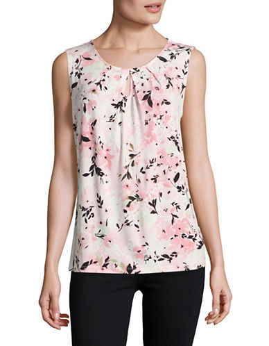 Kasper Suits Keyhole Floral Jersey Cami-PINK-X-Large