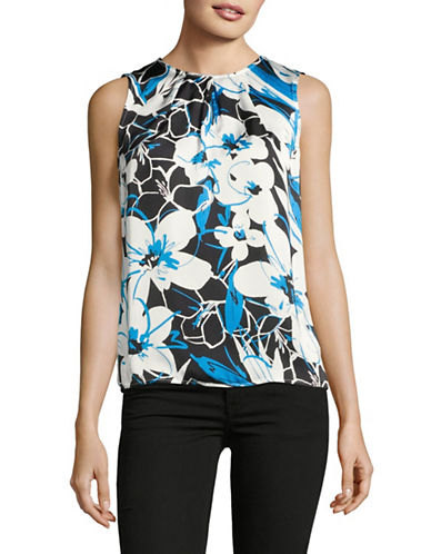 Kasper Suits Abstract Floral Pleated Keyhole Shell Top-AZURE MULTI-X-Large