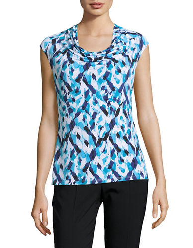 Kasper Suits Printed Cowl Neck Stretch Top-GROTTO MULTI-Medium