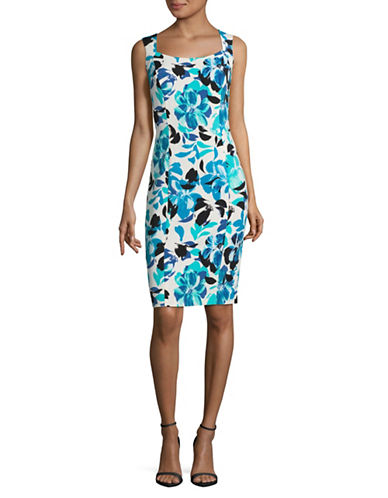 Kasper Suits Floral Sheath Dress-GROTTO MULTI-10