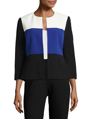 Kasper Suits Collarless Colourblock Blazer-COBALT MULTI-16