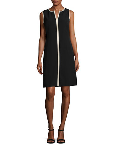 Kasper Suits Contrast Sheath Dress-BLACK/STONE-10