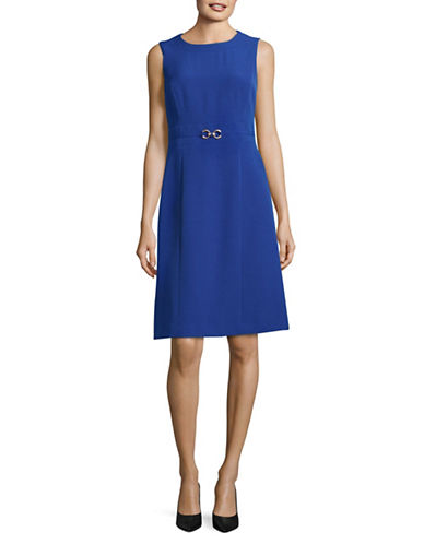 Kasper Suits Buckled Crepe Sheath Dress-COBALT-4