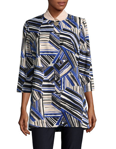 Kasper Suits Printed Three-Quarter Flyaway Jacket-COBALT MULTI-8