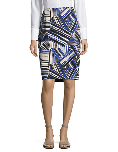 Kasper Suits Abstract Printed Pencil Skirt-COBALT MULTI-12