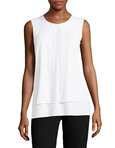 Kasper Suits Split Front Layered Tank-PORCLEIN-Large