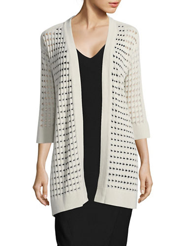 Kasper Suits Longline Cardigan-STONE-Small
