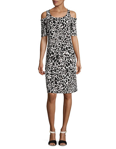 Kasper Suits Printed Cold-Shoulder Sheath Dress-BLACK MULTI-Large