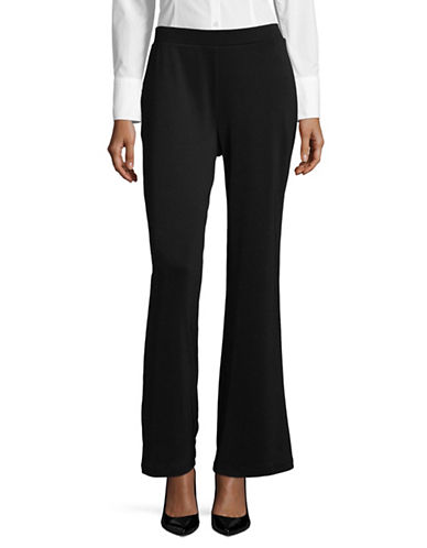 Kasper Suits Ponte Flare Pants-BLACK-Medium