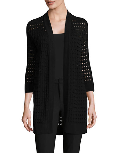Kasper Suits Open Weave Cardigan-BLACK-Large