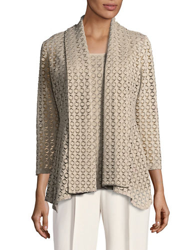 Kasper Suits Laser-Cut Flyaway Cardigan-CLAY-Medium