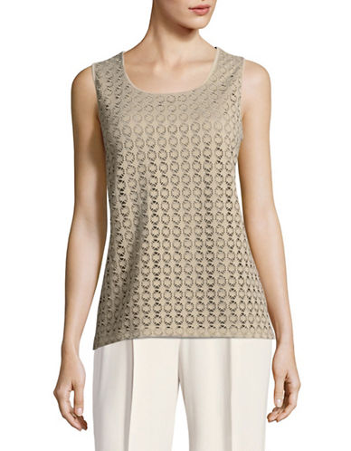 Kasper Suits Laser-Cut Tank-CLAY-Medium
