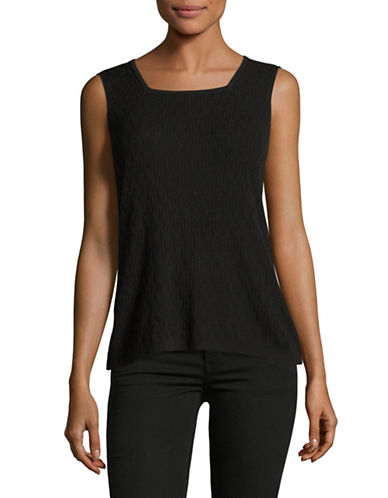 Kasper Suits Square Neck Knit Tank-BLACK-X-Large 89176178_BLACK_X-Large