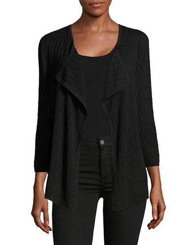 Kasper Suits Black Shaker Stitch Open Cardigan-BLACK-Small 89176171_BLACK_Small