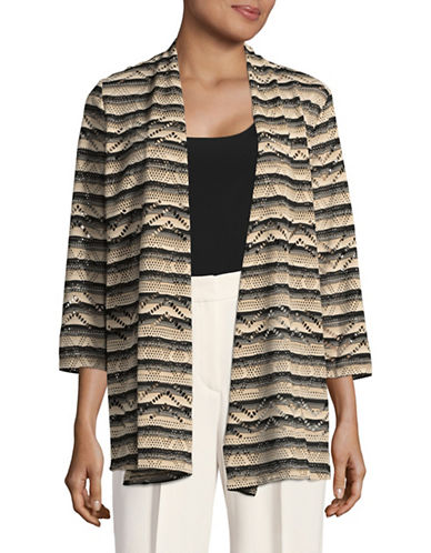 Kasper Suits Striped Laser-Cut Cardigan-CLAY MULTI-X-Large