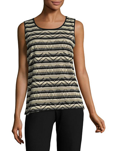 Kasper Suits Woven Scoop Neck Tank-CLAY MULTI-Large