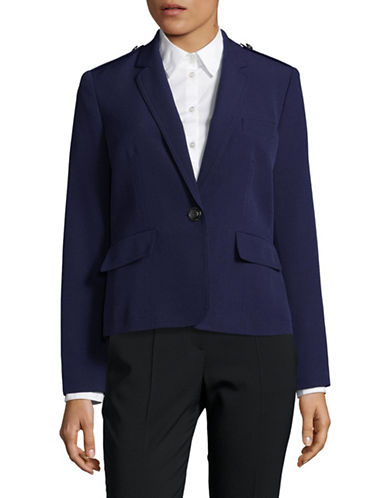 Kasper Suits Solid Cropped Blazer-BLUE-10