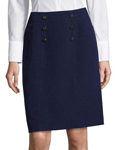 Kasper Suits Two-Tone A-Line Skirt-BLUE-10