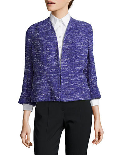 Kasper Suits Woven Flyaway Jacket-BLUE MULTI-6