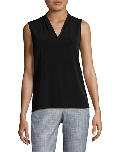 Kasper Suits Pleated V-Neck Tank Top-BLACK-X-Large