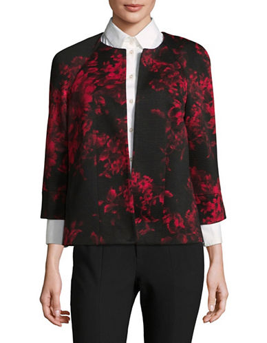 Kasper Suits Ribbed Floral Jacket-RED MULTI-6