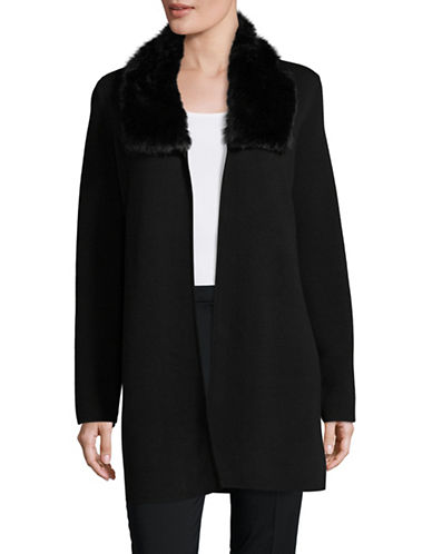 Kasper Suits Faux-Fur Collar Cardigan-BLACK-Large